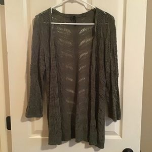 Olive open front cardigan